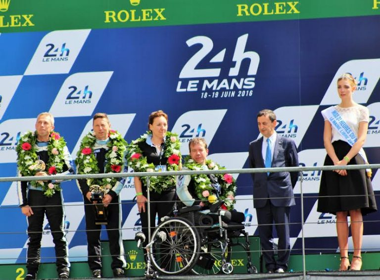 24-HOUR-of-MANS-2016-Frederick SAUSSET-and-his-mates Kitts-TINSEAU and John Albert Bouvet-on-podium-with Pierre Fillon, President and CCO-Photo- Thierry-COULIBALY-